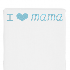 Wit bed side laken I love mama (babyblauw)