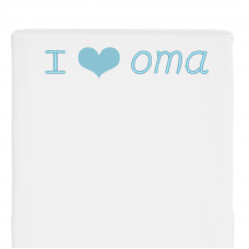 Wit bed side laken I love oma (babyblauw)