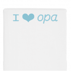 Wit bed side laken I love opa (babyblauw)