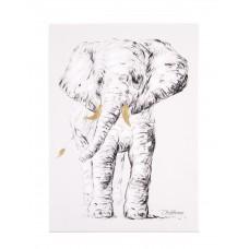 Schilderij - Olifant + Goud - 30x40 Cm