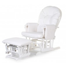 Gliding Chair Schommelstoel Rond Met Voetsteun wit