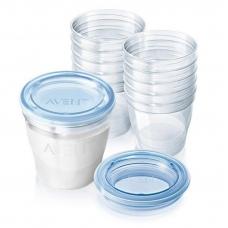10 herbruikbare bewaarbekers voor moedermelk 180ml