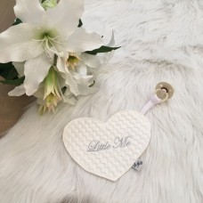 Speendoek hart Jacquard baksteen wit