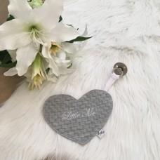 Speendoek hart Jacquard baksteen grijs
