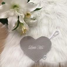 Speendoek hart wafel grijs