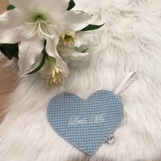 Speendoek hart wafel lichtblauw