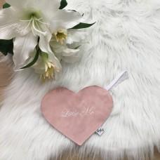 Speendoek hart Suéde roze