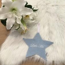 Speendoek ster wafel lichtblauw