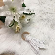 Bijtring konijn wafel wit